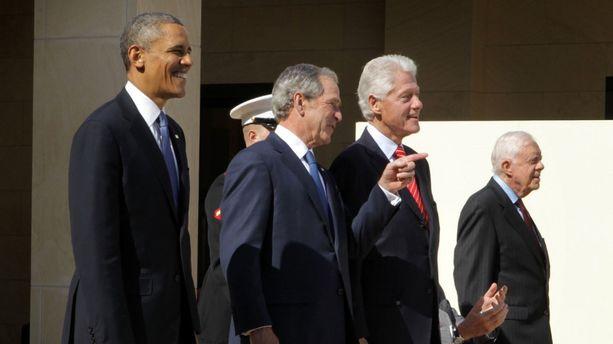 Barack Obama, George W. Bush, Bill Clinton et Jimmy Carter