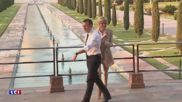 Emmanuel et Brigitte Macron en escapade romantique au Taj Mahal
