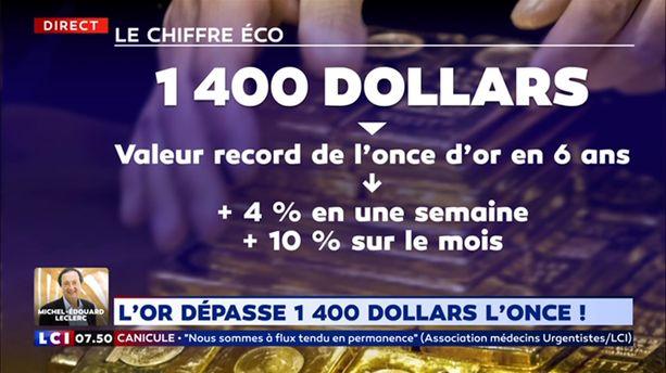 L'or dépasse 1 400 dollars l'once