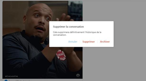 Suppression d'une conversation Facebook
